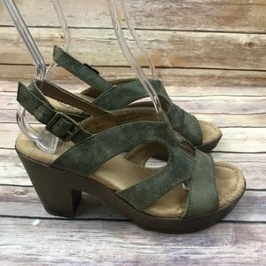 White Wt. Army Green Open Toe Sandals Clog Heels
